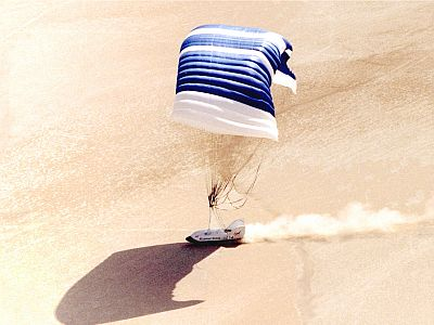 CRV Landing on Lakebed - Image Courtesy of NASA
